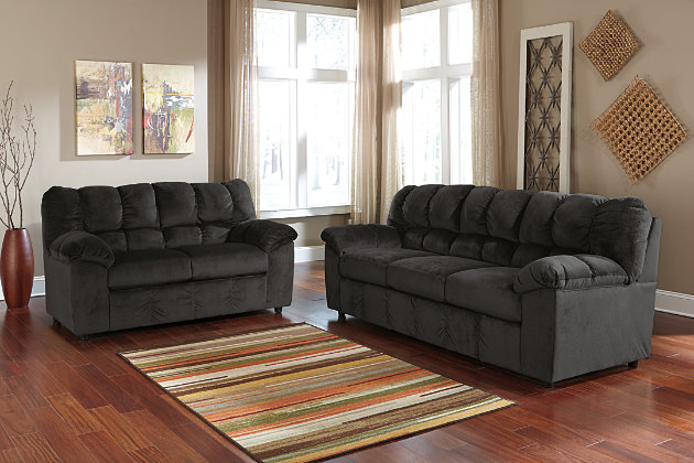 Julson Sofa and Loveseat set, Ebony, large