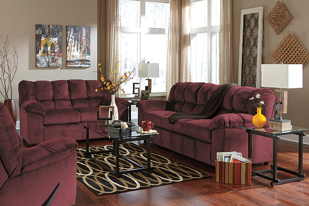 Warm Red Sofa Living Room Set with Metal and Glass End Tables