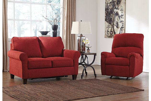 Red Sofa Sleeper Twin and Reclining Rocker Living Room Set