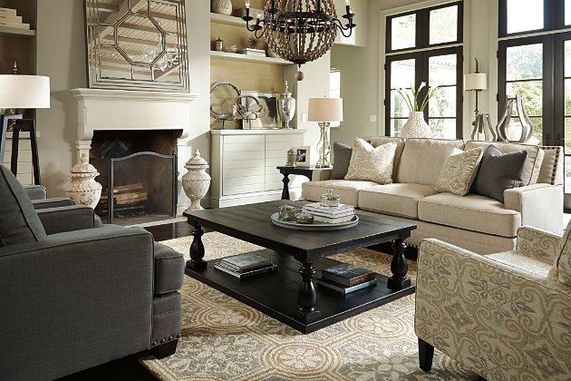Glamourous Lines of the Cloverfield Gray Living Room Furniture with  Dramatic Black Coffee Table Set. Nailhead Trim Detail of the Cloverfield  Couch Set