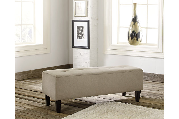 Tan Sinko Ottoman by Ashley HomeStore, Polyester/Nylon