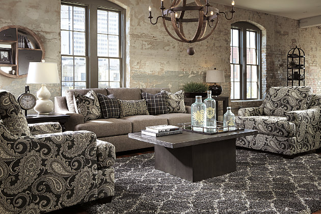 Beautifully Tailored Low Profile Arms Charcoal Gray Couch With Patterned  Pillows With Pair Of Gray Paisley. Perfectly Tailored Charcoal Gray Living  Room ... Part 63
