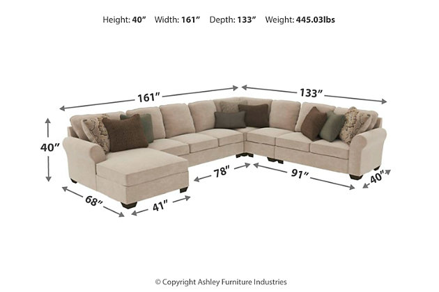 Wilcot 5 Piece Sectional With Chaise Ashley Furniture