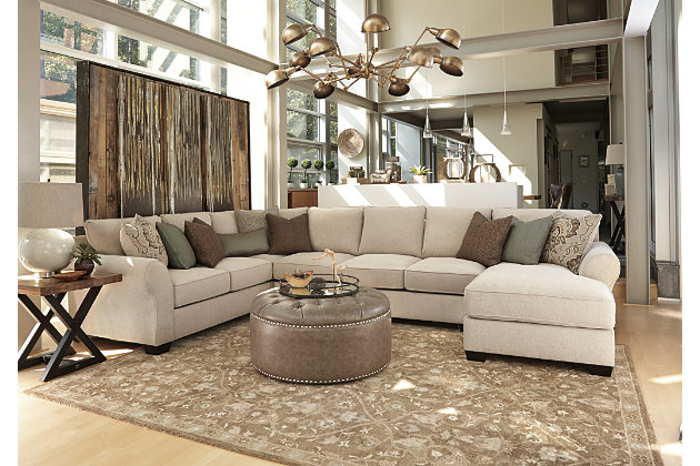 Loose Back Cushions Provide Comfort in the Wilcot Linen Sectional Chaise Accented with the Firm Cushioned : gray sectional sofa ashley furniture - Sectionals, Sofas & Couches