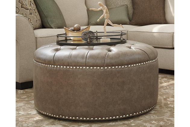 Wilcot Ottoman by Ashley HomeStore, Gray, Polyester/polyp...