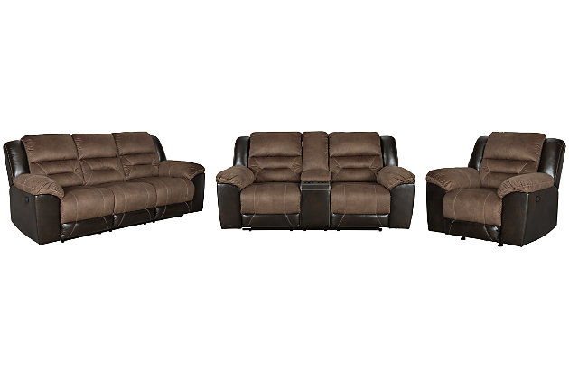 Earhart Sofa, Loveseat and Recliner, Chestnut, large