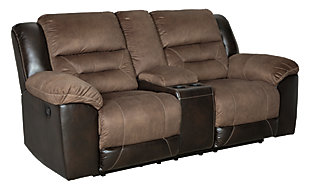 Earhart Reclining Loveseat with Console, Chestnut, large