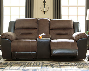 Earhart Reclining Loveseat with Console, Chestnut, rollover