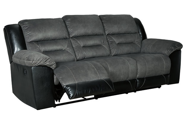 Earhart Reclining Sofa, Slate, large