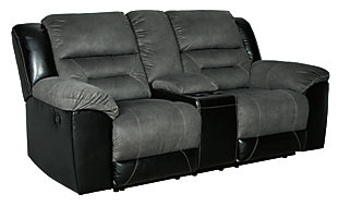 Earhart Reclining Loveseat with Console, Slate, large