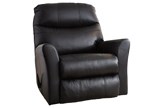 Black Pranav Recliner by Ashley HomeStore, Leather (100 %)