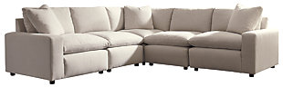 Savesto 5-Piece Sectional, Ivory, large