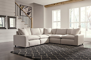 Savesto 5-Piece Sectional, Ivory, rollover