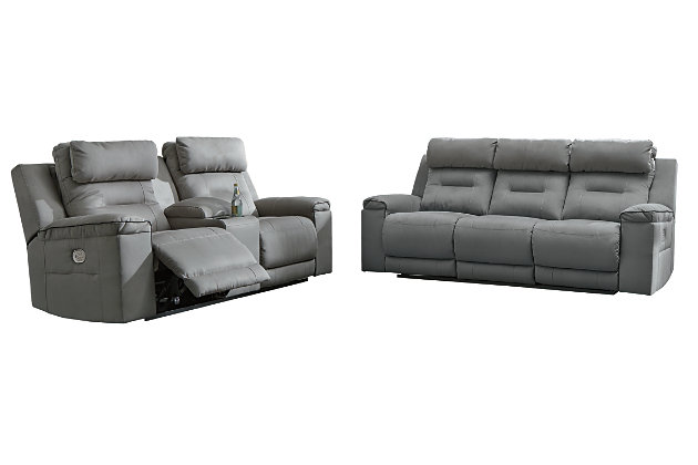 Trampton Power Reclining Loveseat with Console, , large