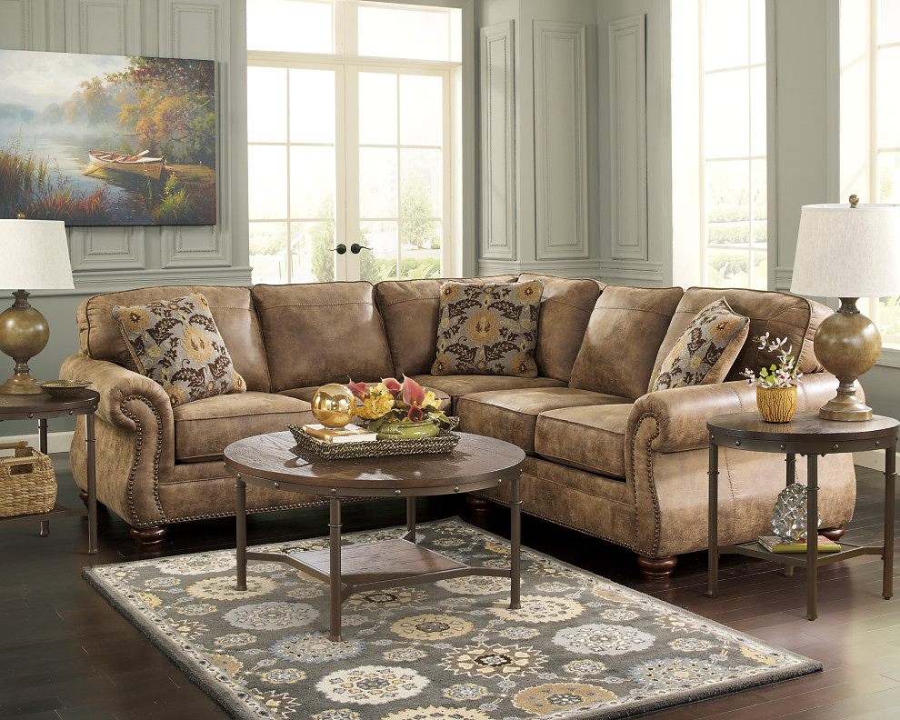 Earth Toned Traditional Styled Sectional Sofa Set
