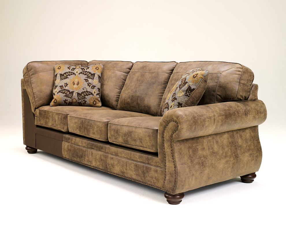 Earth Brown Faux Leather Sofa Piece From The Larkinhurst Sectional  Collection