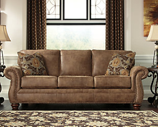 Ashley leather living room furniture Chocolate Leather Larkinhurst Sofa Large Larkinhurst Sofa Rollover Ashley Furniture Homestore Sofas Couches Ashley Furniture Homestore