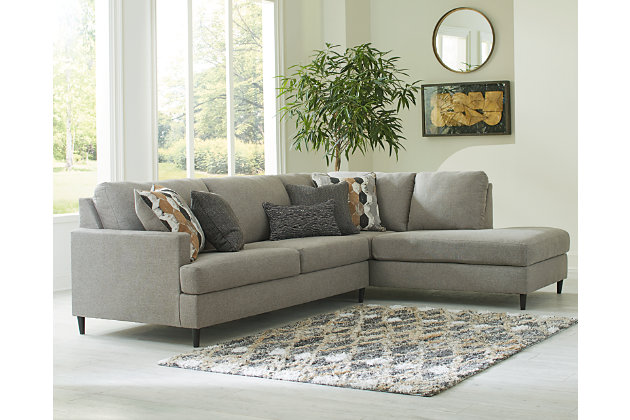 Santasia 2 Piece Sectional With Chaise, Gray Sectional Couch Ashley Furniture