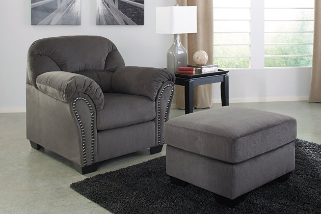 Wonderful Modern Comfort Characterizes This Charcoal Gray Chair And Ottoman