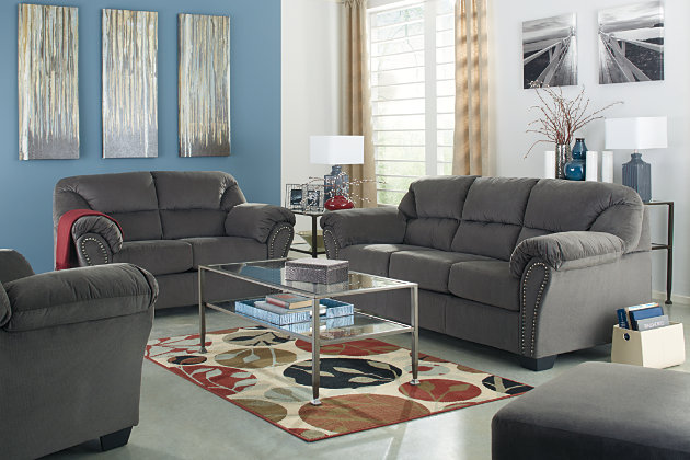 Modern Charcoal Gray Sofa Living Room Set with Matching Ottoman