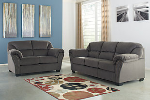 Large Kinlock Sofa And Loveseat Charcoal Rollover