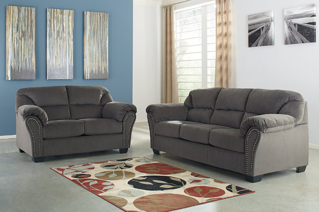 Gray Sofa And Loveseat With Divided Back Cushions And Curved Arms