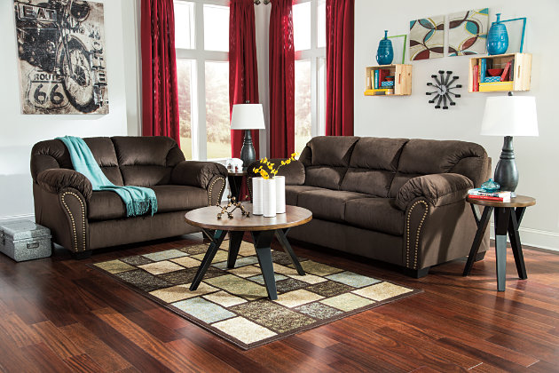 Handsome Dark Brown Loveseat and Couch Adorned with Nailhead Trim