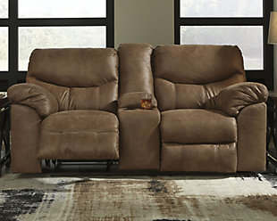 Boxberg Reclining Loveseat with Console, Bark, rollover