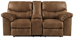 Boxberg Reclining Loveseat with Console, Bark, large