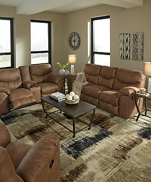 Boxberg Power Reclining Loveseat with Console, Bark, large