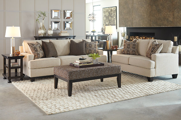 This living room set features our linen white sofa and love seat with  unique patterned brown - Bernat Sofa Ashley Furniture HomeStore