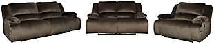Clonmel Sofa, Loveseat and Recliner, Chocolate, rollover