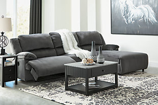 Clonmel 3-Piece Power Reclining Sectional with Chaise, Charcoal, rollover