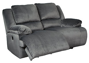 Clonmel Power Reclining Loveseat, Charcoal, rollover