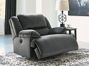 Clonmel Oversized Power Recliner, Charcoal, rollover