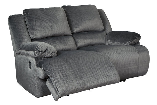Clonmel Reclining Loveseat, Charcoal, large
