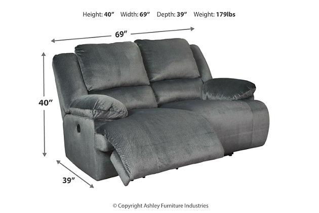 Clonmel Power Reclining Loveseat, Charcoal, large