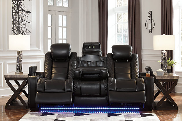 Party Time Power Reclining Sofa, Midnight, large