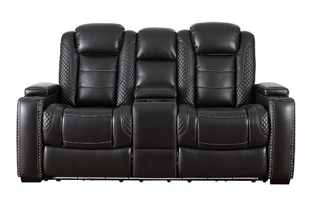 Party Time Power Reclining Loveseat with Console, Midnight, large