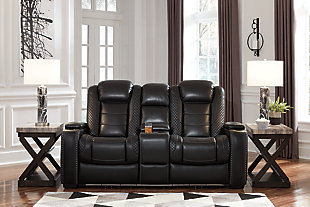 Party Time Power Reclining Loveseat with Console, Midnight, rollover