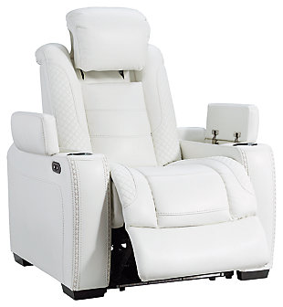 Party Time Power Recliner, White, large