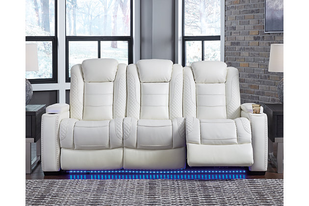 Party Time Power Reclining Sofa, White, large