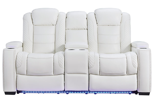 Party Time Power Reclining Loveseat with Console, White, large