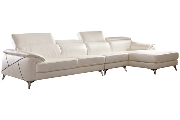 Tindell 3-Piece Sectional with Chaise, White, large
