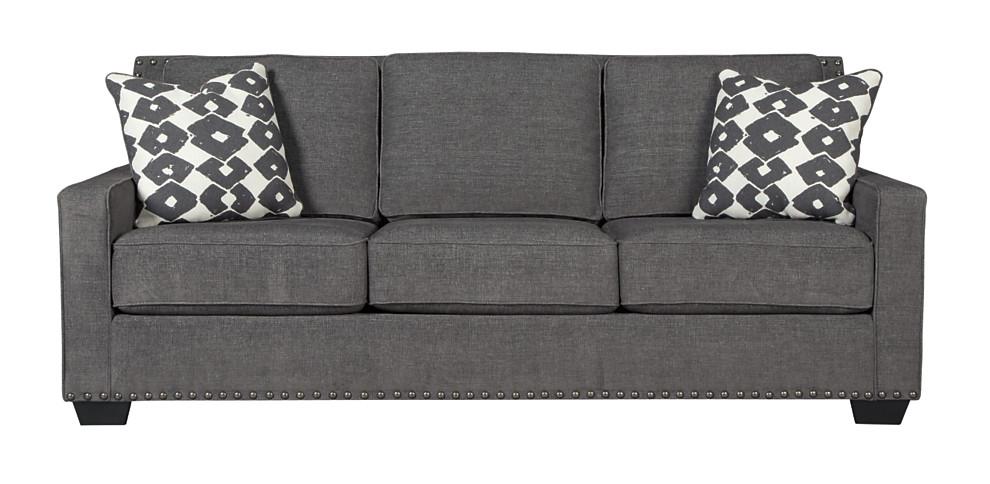Nailhead Trim And Track Arms Give This Modern Grey Sofa A Retro Flair