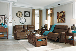 Austere Reclining Loveseat with Console, Brown, large