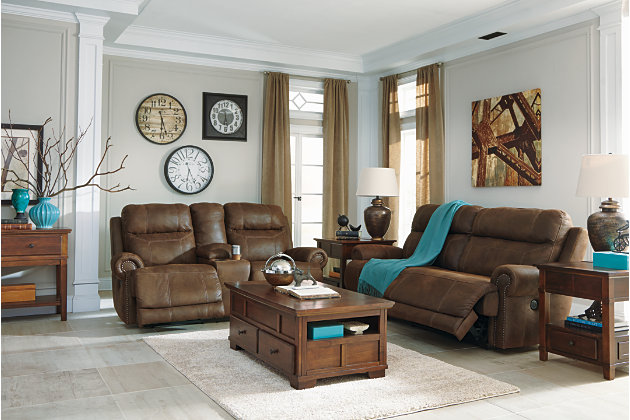Austere Power Reclining Loveseat with Console, Brown, large