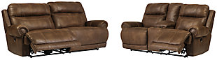 Austere Sofa and Loveseat, Brown, rollover