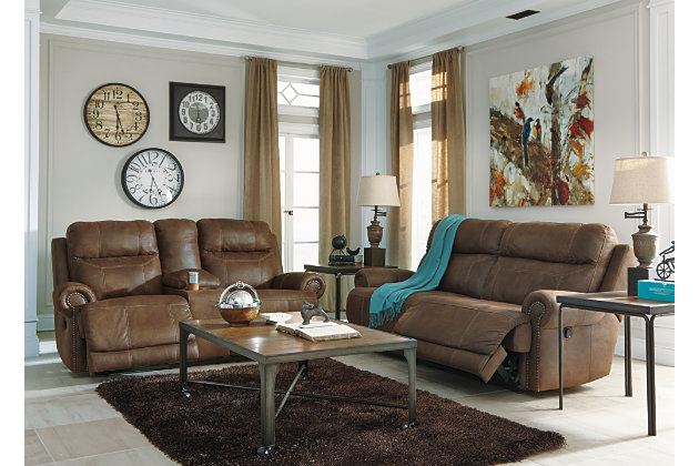 brown leather recliner sofa and loveseat with power control options & Austere Reclining Sofa | Ashley Furniture HomeStore islam-shia.org