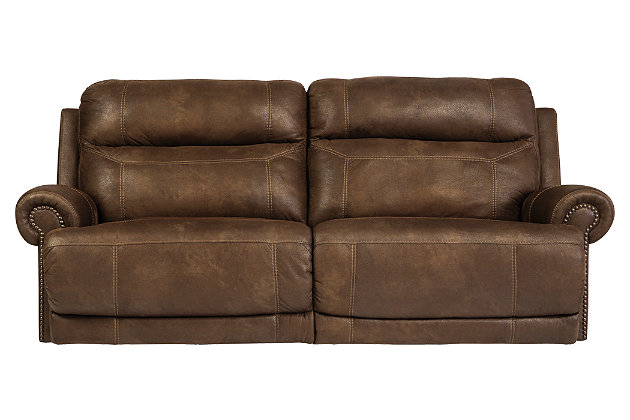 Living room furniture product shown on a white background. this brown faux leather ...  sc 1 st  Ashley Furniture HomeStore : brown leather reclining couch - islam-shia.org
